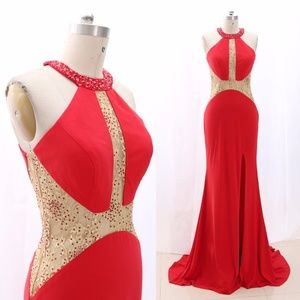 Halter Jersey Red Prom Pageant Gown Formal Evening
